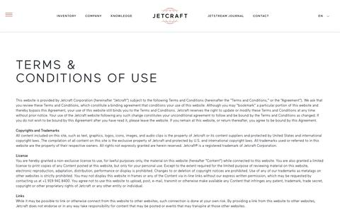 Screenshot of Terms Page jetcraft.com - Terms and Conditions of Use   Jetcraft - captured Aug. 7, 2016