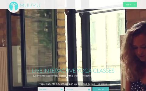 Screenshot of Home Page muuyu.com - Muuyu : Live Online Yoga Classes - captured Jan. 5, 2016