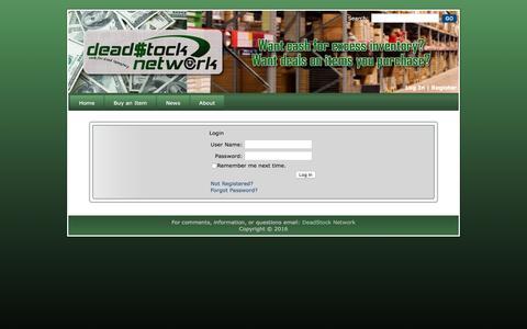 Screenshot of Login Page deadstocknetwork.com - Deadstock Network - Login - Sell Inventory, Surplus inventory, Excess inventory, Inventory liquidation, Overstock Inventory, Buy Inventory - captured April 1, 2016
