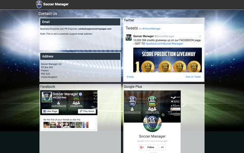 Screenshot of Contact Page soccermanager.com - Contact Soccer Manager | Free Soccer Manager game - captured Aug. 19, 2016