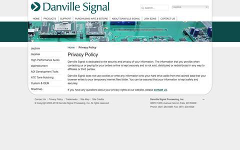 Screenshot of Privacy Page danvillesignal.com - Privacy Policy - Uncategorised - danvillesignal.com - captured Oct. 5, 2014