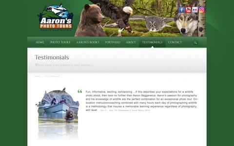 Screenshot of Testimonials Page aaronstours.com - Testimonials | Wildlife Photography Tours And Workshops - captured Nov. 20, 2016