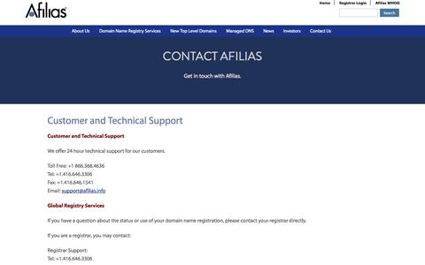 Screenshot of Support Page afilias.info - Customer and Technical Support | Afilias - captured Nov. 3, 2014