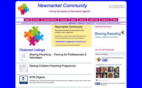 """Screenshot of Home Page newmarketcommunity.co.uk - Newmarket Community Events Ltd   """"Joining the pieces of Newmarket together"""" - captured Oct. 7, 2014"""