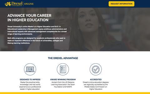 Screenshot of Landing Page drexel.edu - Higher Education & Ed.D. | Drexel University - captured Aug. 31, 2016