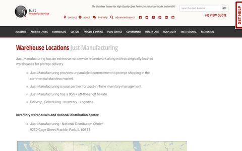 Screenshot of Locations Page justmfg.com - Nationwide Warehouse Locations   Just Mfg - captured Feb. 18, 2018