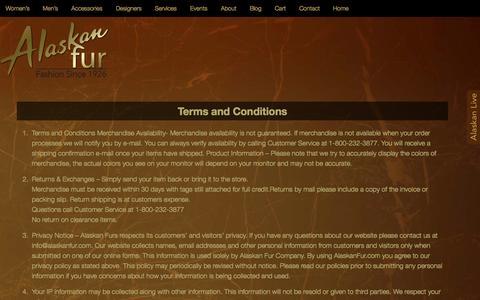 Screenshot of Terms Page alaskanfur.com - Terms and Conditions - Alaskan Fur - captured Oct. 29, 2014