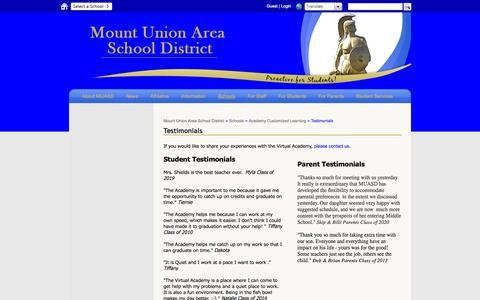 Screenshot of Testimonials Page muasd.org - Testimonials  - Mount Union Area School District - captured Nov. 5, 2014