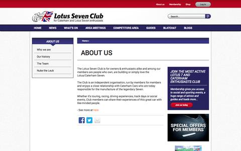 Screenshot of About Page lotus7.club - About us | Lotus Seven Club - captured Nov. 4, 2014