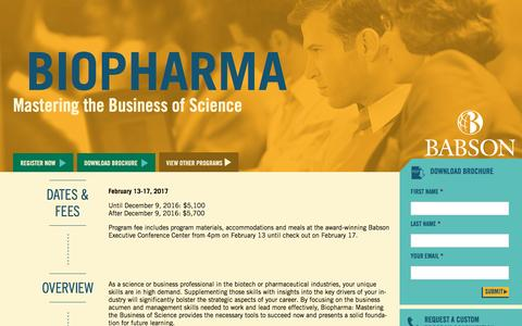 Screenshot of Landing Page babson.edu - BioPharma: Mastering the Business of Science - captured Aug. 26, 2016