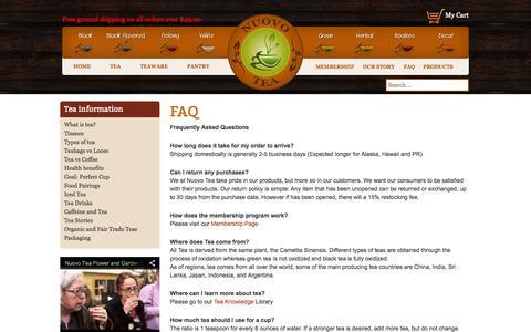 Screenshot of FAQ Page nuovotea.com - FAQ | Nuovo Tea - captured Sept. 30, 2014