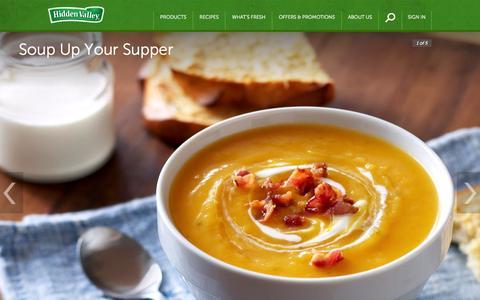 Screenshot of Menu Page hiddenvalley.com - Ranch Salad Dressing, Products, Recipes & More | Hidden Valley® - captured Nov. 1, 2014