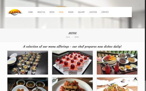 Screenshot of Menu Page zainalodge.com - MENU – Zaina Lodge - captured Sept. 27, 2018