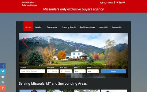 Screenshot of Home Page zootownre.com - Missoula, Montana Real Estate | Jodie L Hooker &Brianna Cooper | Real Estate | Homes For Sale | Missoula | Montana | Property Search - captured Oct. 6, 2014