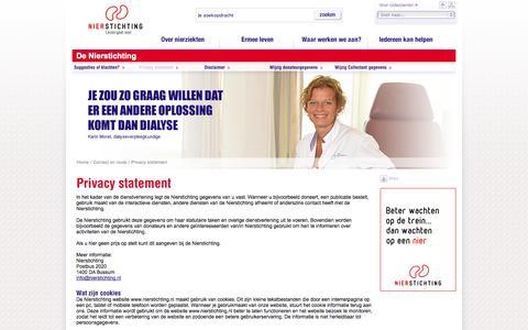 Screenshot of Privacy Page nierstichting.nl - Nierstichting Nederland - Privacy statement - captured Oct. 26, 2014