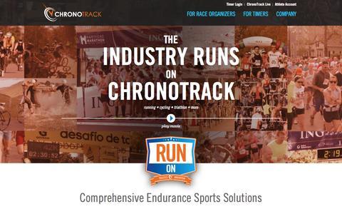 Screenshot of Home Page chronotrack.com - Comprehensive Endurance Sports Solutions   ChronoTrack Systems - captured Sept. 19, 2014