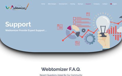 Screenshot of Support Page webtomizer.com - Support - captured June 12, 2017