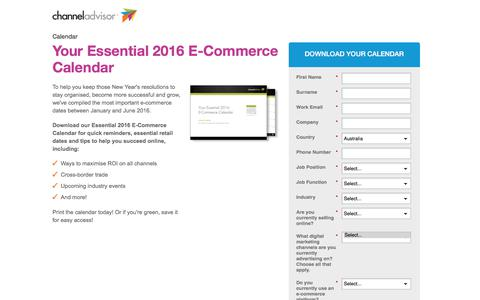 Screenshot of Landing Page channeladvisor.com - Your Essential 2016 E-Commerce Calendar - captured July 23, 2017