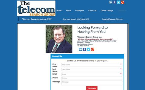 Screenshot of Contact Page telecomsg.com - Telecom Search Group Contact-Us Form - captured Oct. 20, 2017