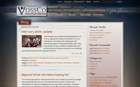 Screenshot of Blog vossco.com - Blog | VossCo MultiMedia | Video Production and Postproduction by Jared Voss - captured Oct. 7, 2014
