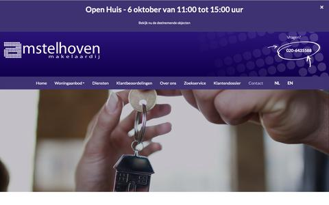 Screenshot of Contact Page amstelhoven.com - Contact opnemen - captured Oct. 3, 2018