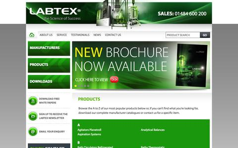 Screenshot of Products Page labtex.co.uk - Products - Labtex - captured Oct. 1, 2014