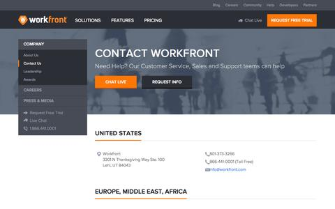 Screenshot of workfront.com - Contact Us - Workfront (formerly AtTask) - captured Oct. 20, 2015