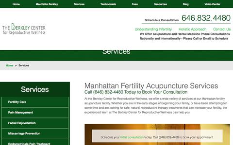 Screenshot of Services Page berkleycenter.com - Our Services | Manhattan Fertility Acupuncture - captured Oct. 10, 2017