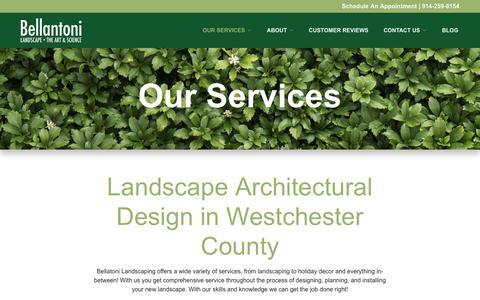 Screenshot of Services Page bellantonilandscape.com - Landscape Architectural Design | Westchester County | Bellantoni Landscape - captured July 5, 2018