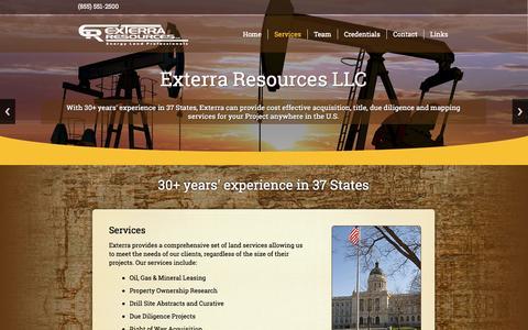 Screenshot of Services Page exterraresources.com - Services | - captured Oct. 3, 2014