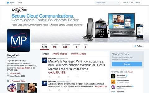 Screenshot of Twitter Page twitter.com - MegaPath  (@MegaPath) | Twitter - captured Oct. 1, 2015