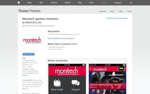 Screenshot of iOS App Page apple.com - Monitech Ignition Interlock on the App Store on iTunes - captured Oct. 26, 2014