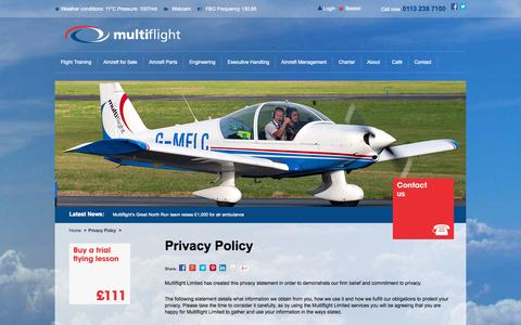 Screenshot of Privacy Page multiflight.com - Privacy Policy: View Multiflights Privacy Statement | Multiflight - captured Oct. 10, 2014