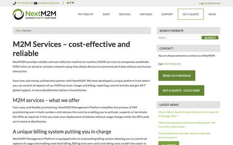 Screenshot of Services Page nextm2m.com - M2M Services – Cost-effective - captured Oct. 20, 2018