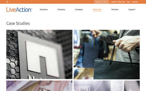 Screenshot of Case Studies Page liveaction.com - liveaction case studies all industry High End Retail Bank Holding Company - captured Aug. 20, 2017