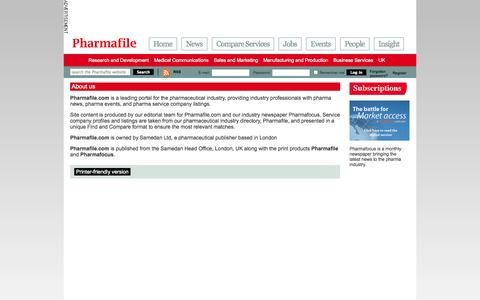 Screenshot of About Page pharmafile.com - About us | Pharmafile - captured Sept. 23, 2014