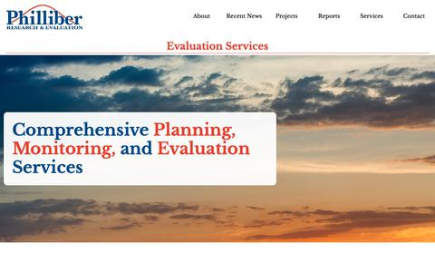 Screenshot of Services Page philliberresearch.com - Evaluation Services - Philliber Research & Evaluation - captured Sept. 28, 2018