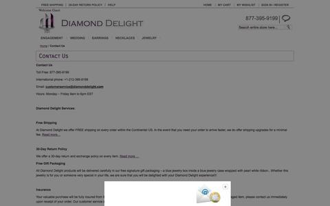 Screenshot of Contact Page diamonddelight.com - Contact Us - captured Sept. 23, 2014