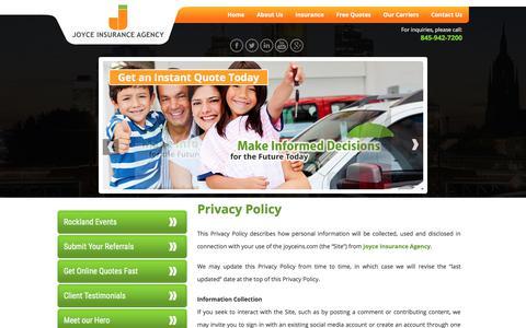 Screenshot of Privacy Page joyceins.com - Joyce Insurance Agency – Insurance Agency in New York - Privacy Policy - captured Oct. 16, 2017