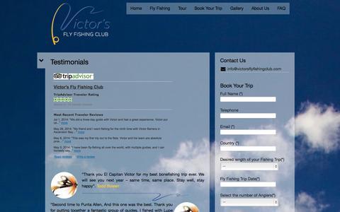 Screenshot of Testimonials Page victorsflyfishingclub.com - Testimonials | Victor's Fly Fishing Club - captured Oct. 7, 2014