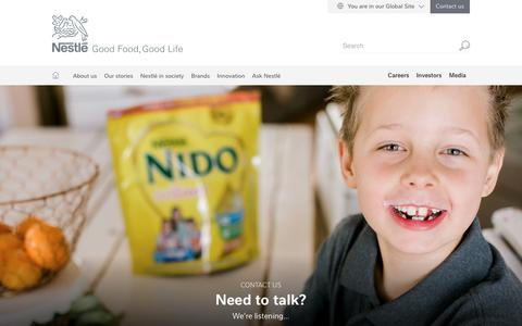 Screenshot of Contact Page nestle.com - Contact us | Nestlé Global - captured Feb. 6, 2019