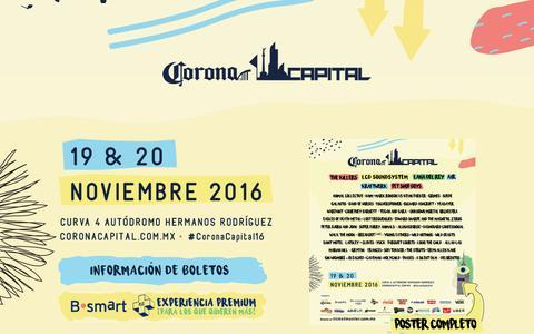 Screenshot of Home Page coronacapital.com.mx - Corona Capital 2016 - captured Sept. 9, 2016
