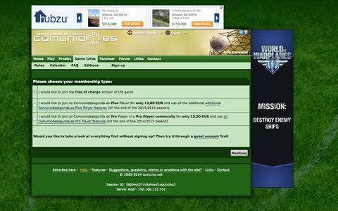 Screenshot of Signup Page comuniodesegunda.es - COMUNIO football manager, soccer manager, fantasy football, Liga Adelante manager - captured Oct. 31, 2014