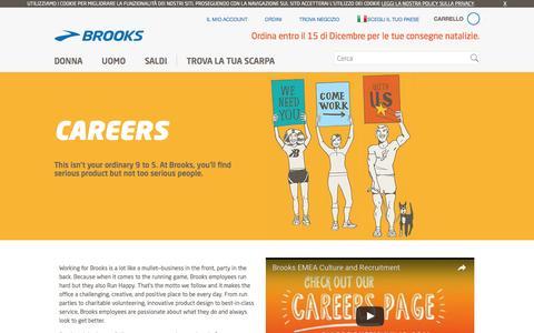Screenshot of Jobs Page brooksrunning.com - Hello Careers Intro Text - captured Dec. 25, 2016