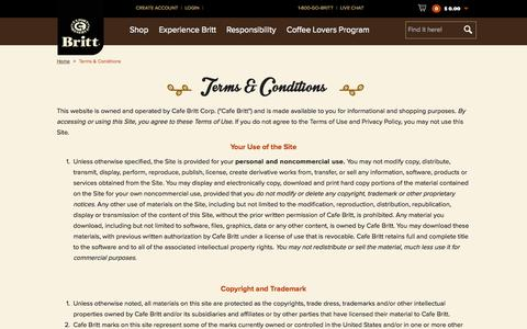 Screenshot of Terms Page cafebritt.com - Terms & Conditions - captured July 17, 2015