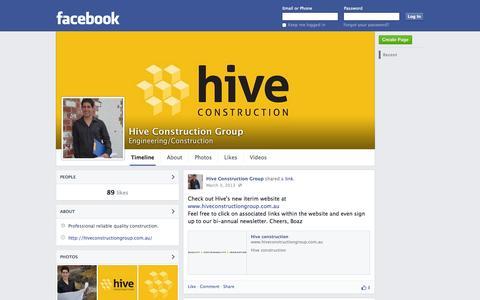 Screenshot of Facebook Page facebook.com - Hive Construction Group   Facebook - captured Oct. 23, 2014