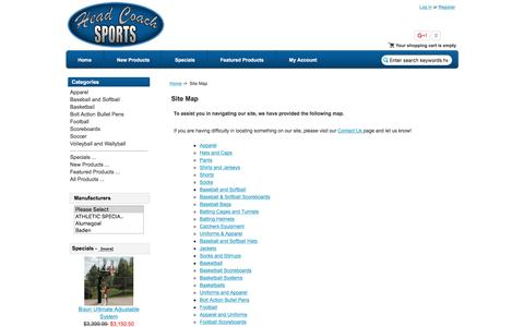 Screenshot of Site Map Page headcoachsports.com - Site Map : Head Coach Sports, Your stop for scoreboards, basketball goals, soccer goals, uniforms, and sporting goods equipment - captured Dec. 8, 2015