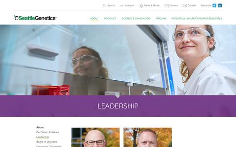 Screenshot of Team Page seattlegenetics.com - Leadership | Seattle Genetics - captured July 6, 2018