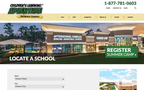 Screenshot of Locations Page childrenslearningadventure.com - Locate A School Children's Learning Adventure - captured May 16, 2017