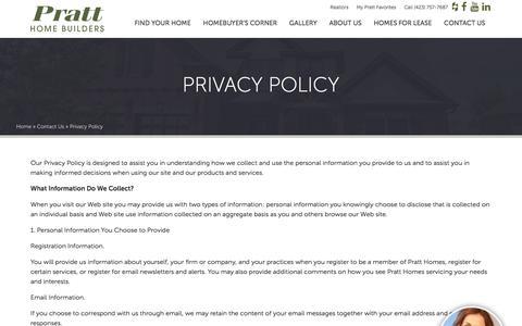 Screenshot of Privacy Page prattliving.com - Privacy Policy - Pratt Homes  Pratt Homes - captured Aug. 19, 2017